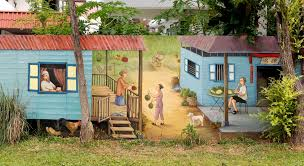 kampung mural art in singapore painted on the wall of a modern private property on wall mural artist singapore with kampung mural art in singapore painted on the wall of a modern