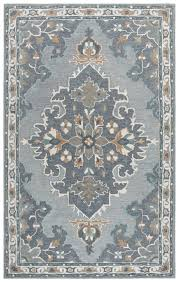 rizzy rugs gray traditional european leaves wool area rug medallion rs933a