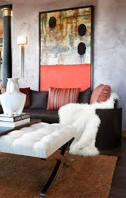 chic cozy living room furniture. Chic Living Room With Unique Wall Art Cozy Furniture L