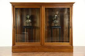 oak 1900 antique display cabinet pantry cupboard sliding glass doors photo