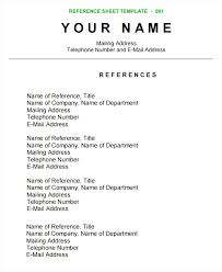 Free Reference List Template For Resume Reference List Template Professional Reference Page Sheet 11