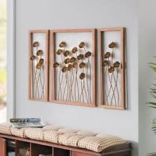 >3 piece antique gold metal floral triptych set wall art panels  image is loading 3 piece antique gold metal floral triptych set