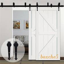 details about 4ft 20ft country bypass double wood sliding barn door hardware closet track kit