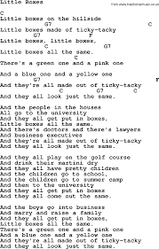 Small Picture Pete Seeger song Little Boxes2 lyrics and chords