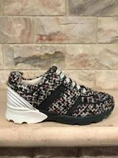 chanel runners. nib chanel 16b grey tweed blue red white cc lace up flat trainer sneaker 40.5 runners r