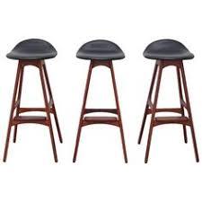 erik buch three teak and rosewood barstools denmark 1960s footrestbar chairsbar