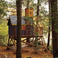 a blue tree house in the woods