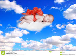 Gift From God Fantasy Portrait Infant With Bow In The Clouds Stock