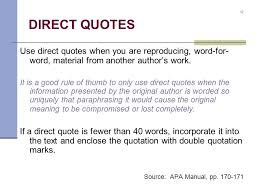 Apa Direct Quote Magnificent The Basics Of APA Format Ppt Video Online Download