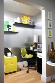 yellow office decor. Home Office, Modern Retro Decorating Office Small Ideas Very Yellow Decor