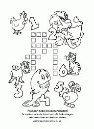 Kleurplaat Kruiswoordpuzzel Dieren Spelletjes Kinder Kleurplaten