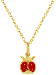 in season jewelry 18k gold plated red ladybug necklace pendant enamel kids children 16 com