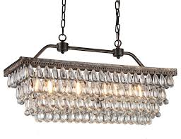 amanda antique style copper 4 light rectangular crystal chandelier