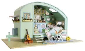 furniture miniature. DIY Wooden Miniature Caravan Dollhouse 3D Doll House Kit \u0026 Furniture Model LED Sound Control Swich English Instruction-in Houses From Toys I