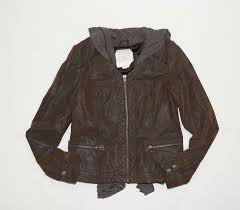 details about hei hei anthropologie brown grey vegan leather hooded jacket size s