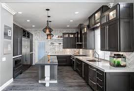luxury kitchen cabinets. Kitchen: Luxury Kitchen Design With Grey Cabinet And Whit Intended For Cabinets