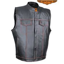 men s black split leather motorcycle vest with red stitching zoom