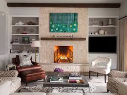 pretty mantel shelf in living room transitional with cedar mantel next to fireplace screen alongside shelf