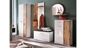 Garderobe 1 Granada Komplett Set Weiß Hochglanz Lack Eiche