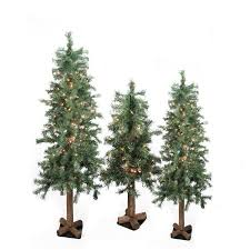 Set of 3 Pre-Lit Woodland Alpine Artificial Christmas Trees 4', 5'