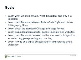 Chicago Style The Basics Merrimack College Writing Center Ppt