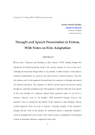 thought and speech presentation in fiction notes on film thought and speech presentation in fiction notes on film adaptation pdf available