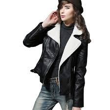 2019 2017 shearling sheepskin coats black leather jacket women short thick lamb wool fur collar padded winter motorcycle biker coats from bidalina