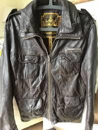 superdry genuine leather jacket medium mens retro superdry brown superdry for superdry