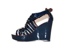 tory burch patent leather navy wedge sandals used 177 00 sz 7 5 from the steal vault