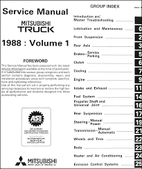 1988 mitsubishi truck repair shop manual set original covers all 1988 mitsubishi pickup truck models including spx sport and mighty max these books measure 8 5 x 11 and are 1 25