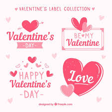 hand drawn valentine s day label badge collection free vector