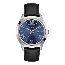 guess men s round blue dial black leather strap watch h samuel guess men s round blue dial black leather strap watch product number 4509447