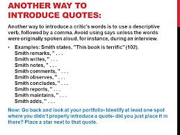 introducing quotes in essays suggested ways to introduce quotations columbia college