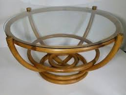 vintage round bamboo coffee table with glass top mid century modern