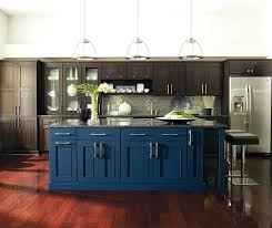 dark wood cabinets with a blue kitchen island colored dark blue supreme cabinetry