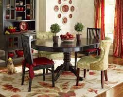 red upholstered dining room chairs. Art Deco Dining Room Design With Pier One Ronan Pedestal Table, Green Floral Pattern Wing Back Upholstered Chairs, And White Red Chairs H