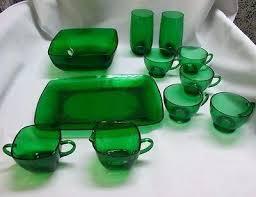 green glass dinnerware sets vintage emerald depression dishes platter glasses bowl milk dinner plates