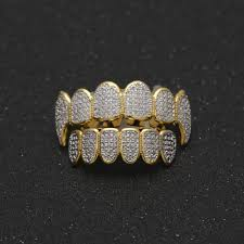 hip hop grillz for man high quality full diamond hiphop grillz gold siver jewelry men fashion hip hop jewelry whole hip hop grillz full diamond hiphop