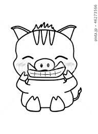 かわいく笑うイノシシぬりえのイラスト素材 46273566 Pixta