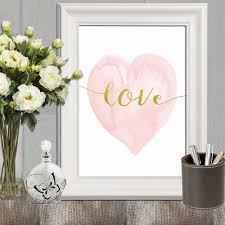 Pink And Gold Bedroom Decor Heart Print Pink Nursery Heart Wall Art Pink Gold Heart Art