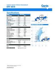Genie 5519 Load Chart Genie Gth 5519 Specifications Cranemarket