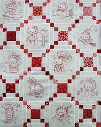 Best 25+ Embroidered quilts ideas on Pinterest | Quilting, Baby ... & Redwork Hello Kitty Quilt - not hello Kitty but the pattern itself :) Adamdwight.com