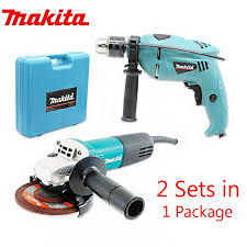 makita grinder with drill set blue