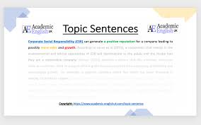 good topic sentence in academic writing