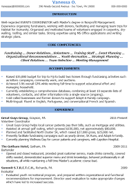 Sample Of Event Planner Resume