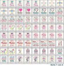 Stickdateien Mama Muttertags Mutterliebe Sprüche Set Nr 38 Stickmuster Mutter Mütter Mama Mamas Stickmuster Rockqueenembroidery