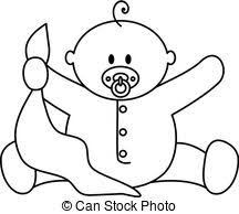 blanket clipart black and white. baby boy with blanket - black and white clip art or. clipart t