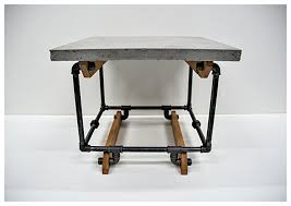 Amazon Side Table End Table Concrete Top with Gas Pipe and