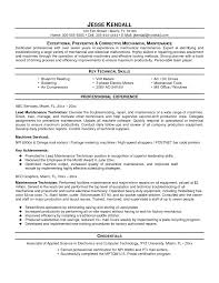 Building Technician Cover Letter Maintenance Supervisor Resume
