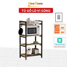 Kệ để lò vi sóng 4 tầng khung thép sàn gỗ, kệ đa năng đựng vật dụng nhà bếp  tiện dụng giá cạnh tranh